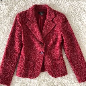 Zara womens fuzzy two button blazer size 6